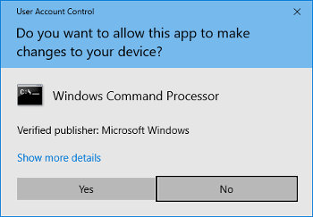 Image of a User Access Control dialogue box on a Windows system.